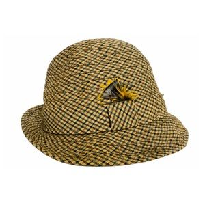Vintage 60s Wool Check Biltmore Fedora Feathers Sherlock Holmes Vibes S